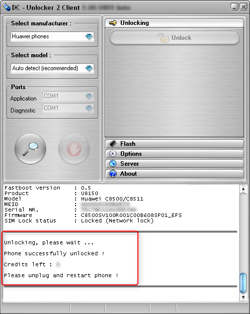 Huawei C8500/C8511 detect and unlock procedure. Successfully unlocked, disconnect and restart phone
