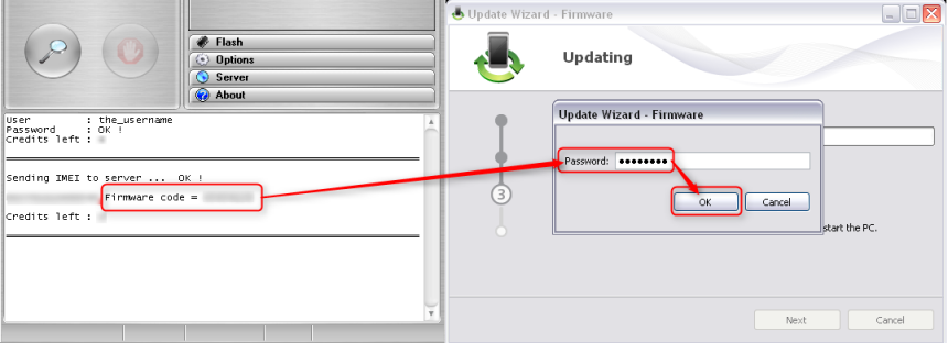 Copy generated firmware code to update wizard