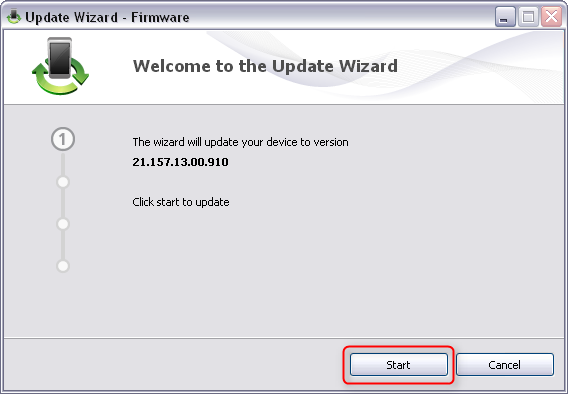 Click start in update wizard