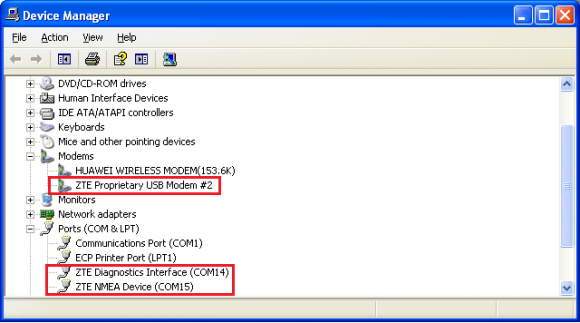 How to detect ZTE modem, router with no COM ports
