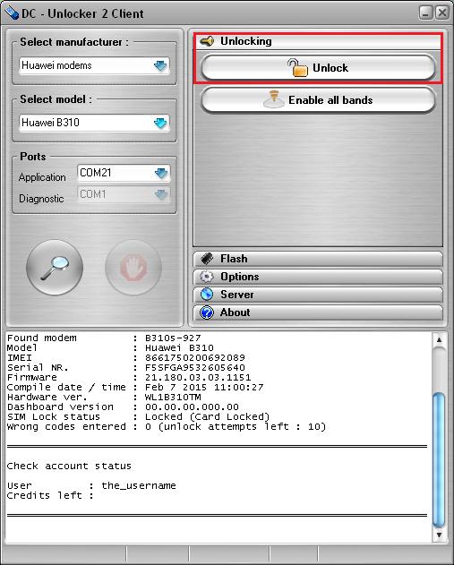 Huawei B310 detect and unlock guide