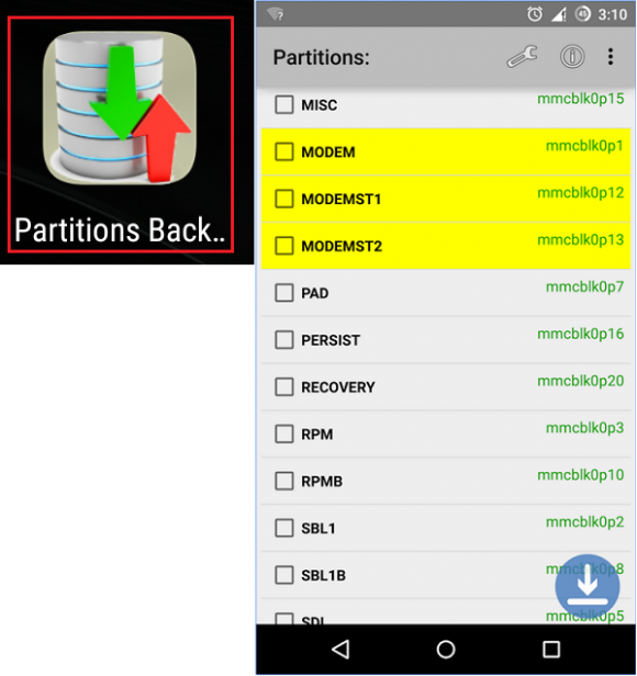 Huawei phone partitions backup